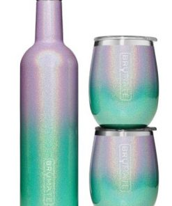 WINESULATOR + 2 UNCORK'D XL WINE TUMBLERS/LIDS | GLITTER MERMAID V2.0